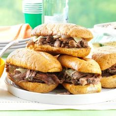 Simple & Delicious (June 2013): Slow Cooker French Dip Sandwiches - Tender beef on toasted rolls with steaming pan juices, these sandwiches make a standout addition to the buffet line.