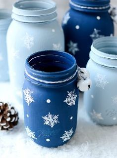 Image result for painted jars for christmas