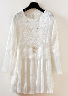 White Long Sleeve Embroidered Lace Pleated Dress N.Kr.229.70