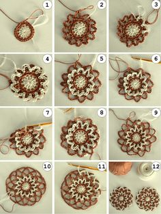 Coffee flower coasters simple chain loops a pretty design that reminds me of a doily crochet by deb bee Crochet Diy, Crochet Motifs, Crochet Squares, Love Crochet, Irish Crochet, Crochet Crafts, Crochet Doilies, Crochet Flowers, Crochet Stitches