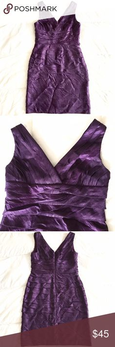ADRIANNA PAPELL Purple Sheath Cocktail Dress Sz 8 Beautiful and flattering cocktail dress. The color is a gorgeous rich purple. Fully lined. Great condition, minimal wear, see photos!  Size: 8 Measurements (laying flat): bust- 17 inches waist- 15 inches hips- 20 inches length- 37 inches Adrianna Papell Dresses Midi