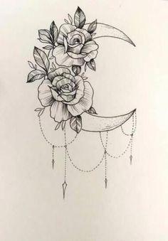 Tattoo Designs Drawings Inspiration Ribs Ideas – My World Girl Leg Tattoos, Hot Tattoos, Flower Tattoos, Body Art Tattoos, Small Tattoos, Lotusblume Tattoo, Tattoo Mond, Tattoo On Leg, Hand Tattoo