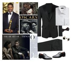 """""""Red Carpet at the Oscars - Denzel Washington"""" by selene-cinzia ❤ liked on Polyvore featuring Dsquared2, Saddlebred, Effy Jewelry, men's fashion, menswear and RedCarpet"""