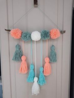 The tassel. The cousin of the pompom is how I see it! Medium pompom and tassel wall hanging plus P&P. Can also be made in personal… Diy Crafts For Home Decor, Diy Arts And Crafts, Diy Room Decor, Diy Crafts For Kids, Pom Pom Crafts, Yarn Crafts, Pom Pom Wreath, Pom Poms, Creation Deco
