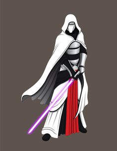 The armor of Revan the White, from the Knights of the Old Republic series. I would prefer a silver-bladed Lightsaber, of course.