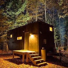 The Clara Micro Home designed by Wyatt Komarin, Addison Godine, and Rachel Moranis; built by Patrick Mulroy, from The Harvard Innovation Lab startup Getaway Micro House, Tiny House Movement, Home Fashion, House Design, Cabin, Architecture, House Styles, Building, Green