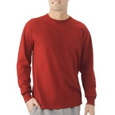 Fruit Of The Loom Men's Long Sleeve Crew Tee, Size: Large, Red