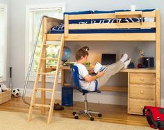 Lofted bed with desk space underneath. Great for a boy's room with limited space!