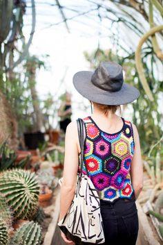 Patchwork tank + straw hat