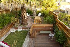 Growsgreen Landscape Design Beth Mullins, IPE storage bench and deck. Redwood fence, brick path and modern furniture mid century.