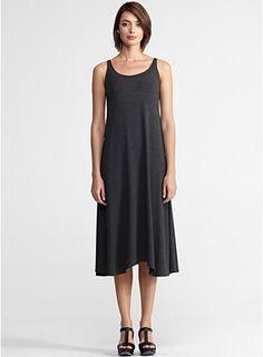 Scoop Neck Dress in Viscose Jersey (Charcoal). Eileen Fisher. $198.00