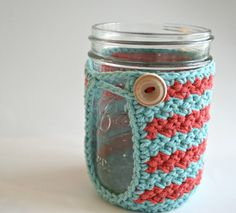 Crochet Mason Jar Cozy  Coffee Cup Cozy  Set of 2 Red by KnotaGeek, $20.00