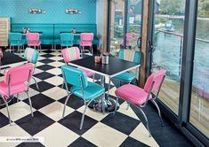Karndean's Korlok and Opus flooring feature in classic American diner Classic American Diner, Karndean Flooring, Luxury Vinyl Flooring, Commercial Flooring, Floor Design, Commercial Interiors, Mid Century, Furniture, Case Study