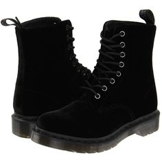Dr. Martens Page (Black Ze You Velvet) Women's Boots (220 BRL) ❤ liked on Polyvore featuring shoes, boots, black, combat boots, mid-calf boots, velvet boots, black mid calf boots, army boots, lace-up boots and black combat boots