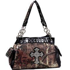Mossy Oak Studded Camouflage Shoulder Bag w/ Rhinestone Cross - Camouflage/Black