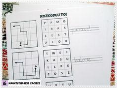 Kodowanie programowanie dla dzieci karty pracy Worksheets For Kids, Printable Worksheets, Cursive Letters, Coloring Pages For Kids, Homeschool, Diagram, Coding, Memories, Blog