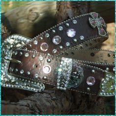 Western Rhinestone Crystal & Cross Belt - Brown Sz. Med - $32.24 : Lonestar Princess, Western and Trendy Purses / Wallets, Jewelry, Rhinestone Belts and More!