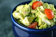 Avocado Chicken Salad Recipe Salads, Lunch with boneless skinless chicken breasts, avocado, lime juice, onions, grape tomatoes