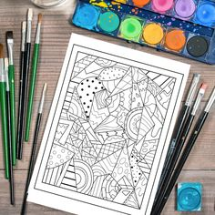 Adult Coloring Page, Printable Adult Coloring Book Page, abstract coloring page, Digital Illustration by Lepetitchaperon on Etsy