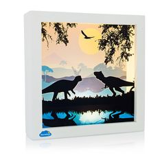 Marmelada Lights Dinosaurs At Midnight Led Wall Hanging And Table Top Inner Timer Story In A Frame Night Light Toddler Baby Nursery Room