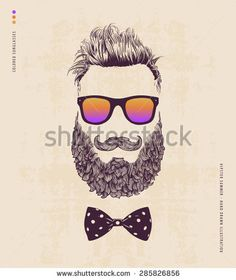 Hipster with beard, mustache and sunglasses. hand drawn illustration - stock vector