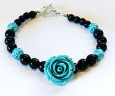 Beautiful Bracelet-Valentines Day-Large Blue Acrylic Rose-Blue Acrylic Molded Rose Beads-Black Glass Beads by rosaliascharm on Etsy