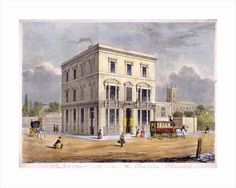 The Cadogan Arms Inn, King's Road, Chelsea, London by S Lacey. St Luke's church in the background London Art, Old London, London Photos, Old Photos, Vintage Photos, Chelsea London, London History, Framed Artwork, Find Art