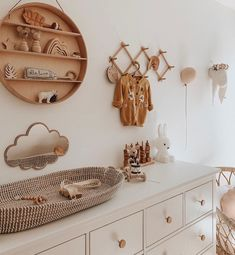 """Interior & Scandinavian Decor: """"How cute is this nursery room by 👈🏻😍 Featuring the Olli Ella Reva Baby Changing Basket, now back in stock 💫 . Childrens Room Decor, Baby Nursery Decor, Baby Bedroom, Nursery Neutral, Baby Decor, Nursery Room, Natural Nursery, Boho Nursery, Baby Room Design"""