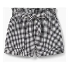 MANGO Check Cotton Shorts featuring polyvore, women's fashion, clothing, shorts, bottoms, pants, elastic waistband shorts, bow shorts, mango shorts, checkered shorts and cotton shorts