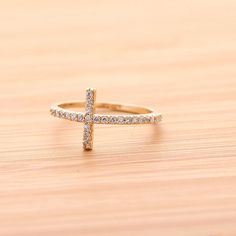 SIDEWAYS CROSS  ring, with crystals in gold(plated, 925sterling)