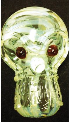 4Clear Skull Shaped Hand Blown Glass Pipe NEW by DynamicSmoke, $27.99