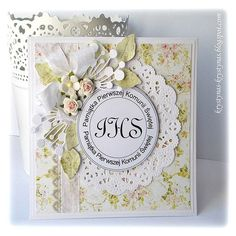 I Komunia Św. 3d Cards, Paper Cards, First Communion Cards, Shabby Chic Cards, Scrapbook Cards, Scrapbooking, Heart Cards, Card Tags, Flower Cards