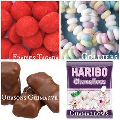 Mes bonbons préférés : tagada, colliers, oursons guimauve, et chamallows !