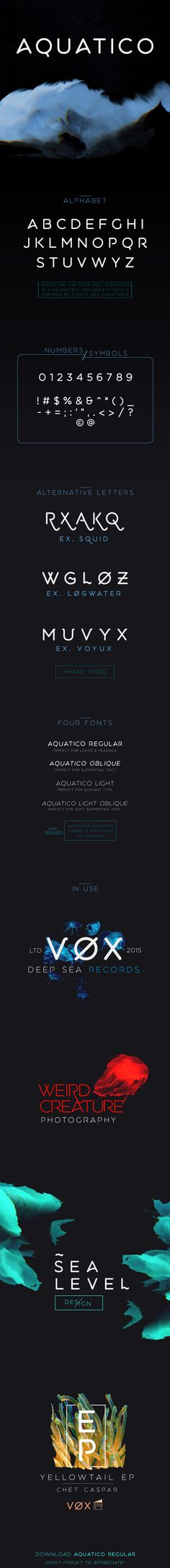Aquatico - Free Typeface on Behance. Love this so much I bought the full version =)