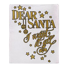 Stadium Throw Blanket Christmas Dear Santa I Want It All * Want to know more, click on the image.
