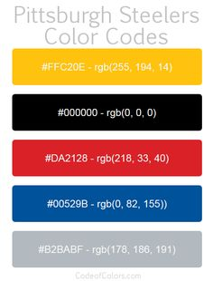 Team Colors of the Oklahoma City Thunder. Hexadecimal and RGB Codes for the Oklahoma City Thunder Logo. Hex and RGB Color Palette Schemes for the Oklahoma City Thunder Jerseys. What colors are the Oklahoma City Thunder? Steelers Team, Pittsburgh Steelers Logo, Thunder Oklahoma, Thunder Team, Rgb Color Codes, Nfl Team Colors, Man Cave Games, Hex Codes, Garage Makeover