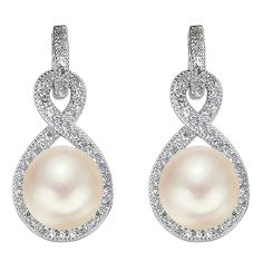 EleQueen 925 Sterling Silver CZ AAA Button Cream Freshwater Cultured Pearl Infinity Bridal Jewelry >>> See this great product. (This is an Amazon affiliate link)