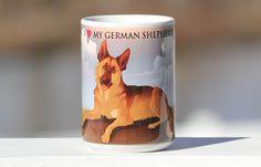 I love my German Shepherd  large 15 oz coffee mug by ThePackShack, $16.00
