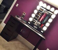 Makeup corner dark wall/black vanity by @breprice on IG featuring her #blackbroadway table top $399