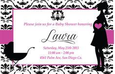 Damask Baby Shower Invitation