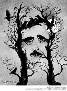 tree Cool black nature gothic Edgar Allan Poe The Raven creepy but cool Illusion Kunst, Illusion Art, Optical Illusion Tattoo, The Meta Picture, Edgar Allan, Allan Poe, Arte Horror, Gothic Horror, Illustration