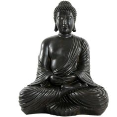 "17"" Japanese Sitting Buddha Statue ($67) ❤ liked on Polyvore featuring home, home decor, fillers, decor, black, extras, backgrounds, resin figurines, black home decor and buddha sculpture"