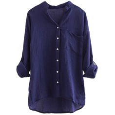 Navy Blue Stand Collar Plain Button Three Quarter Sleeve Ladies Blouse (55 RON) ❤ liked on Polyvore featuring tops, blouses, shirts, long sleeves, navy blue, blue 3/4 sleeve shirt, blue button shirt, three quarter sleeve shirts, shirts & blouses and long sleeve button shirt