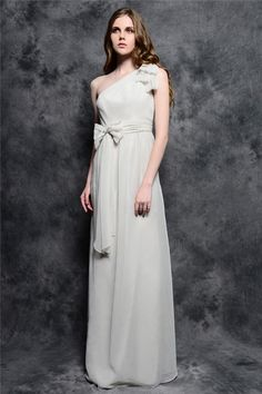 A-Line One-Shoulder Sleeveless Floor Length Chiffon Long Prom Bridesmaid Dress | Buy Wholesale On Line Direct from China