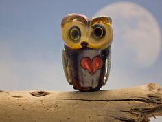 Lola lampwork double helix owl bead sra by DeniseAnnette on Etsy, $24.00