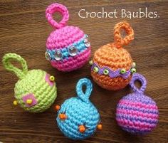 Free Crochet Pattern for Christmas Tree Baubles | AllFreeCrochet.com