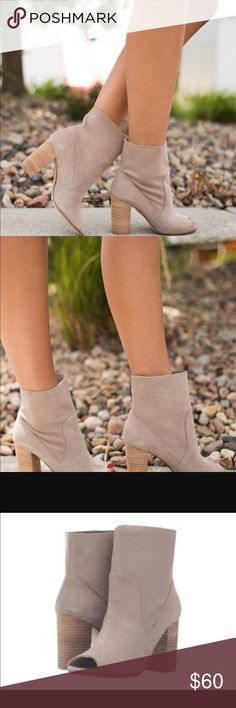 """Taupe tom girl peep toe bootie A Gorgeous slip on smooth suede peep toe bootie. Tom girl split suede taupe. Approx 3.5"""" heel. Fit true to size. Chinese Laundry Shoes Ankle Boots & Booties"""