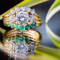 Interview with Jillian of Marrow Fine Jewelry - Meet The New Crusader For Your Diamonds - yellow gold and diamond engagement ring with emeralds (wedding)