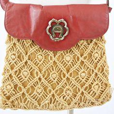 vintage 70s BOHO jute OXBLOOD leather AIGNER crochet crossbody satchel by PasseNouveauVintage, $22.00