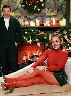 Miley Cyrus Gave A Dated Christmas Carol A Much-Needed Feminist Twist with girls girls girls flirt Pantyhose Outfits, Red Pantyhose, Miley Cyrus Outfit, Miley Cyrus Style, Fashion Tights, Tights Outfit, Elizabeth Gillies, Chloe Bennett, Look Star
